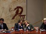 Mas, Ortega y Rigau, en la reunión del Govern