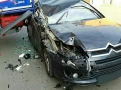 Imatge d'un accident a Alfafar (València)