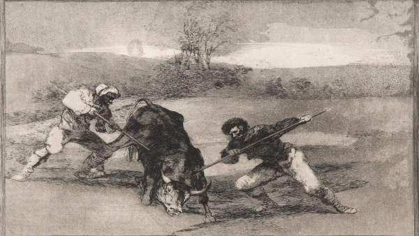 Uno de los grabados de la serie Tauromaquia, de Goya