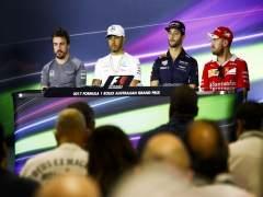 Alonso, Hamilton, Ricciardo y Vettel en rueda de prensa