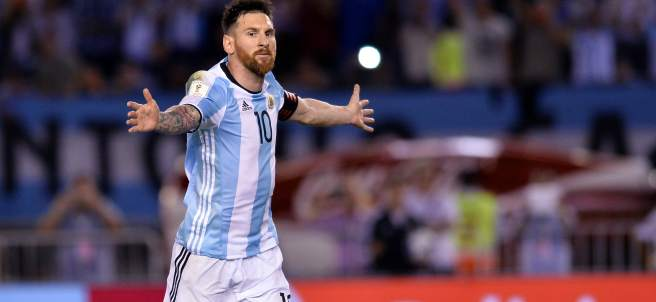 Leo Messi celebra el tanto que marcó ante Chile.