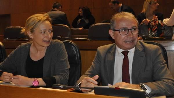Fernando Gimeno en el pleno de las Cortes de este lunes.