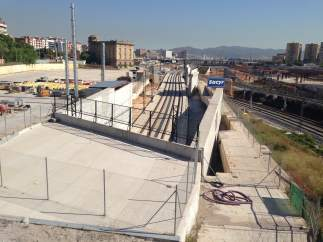 Obras del AVE en el barrio de la Sagrera, en Barcelona.