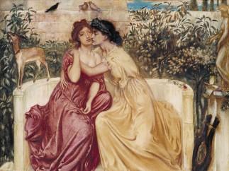 Simeon Solomon 1840-1905 - Sappho and Erinna in a Garden at Mytilene, 1864