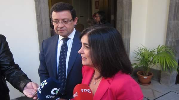 Jorge y Darias, ante los periodistas