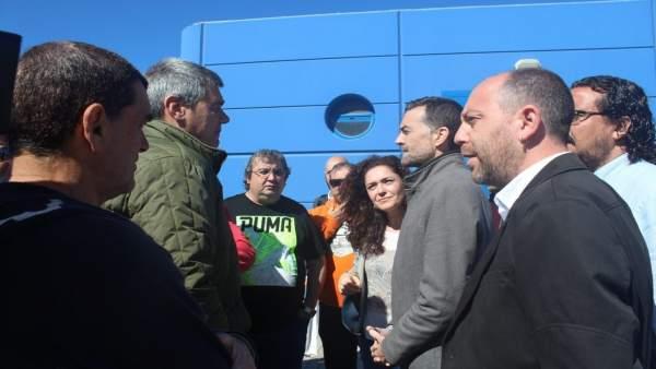 Antonio Maíllo, coordinador general de IU Andalucía, en Algeciras