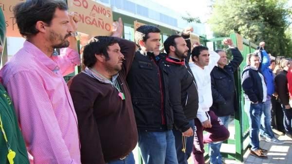 Agricultores encadenados en la puerta de la Junta de Andalucía en Huelva.