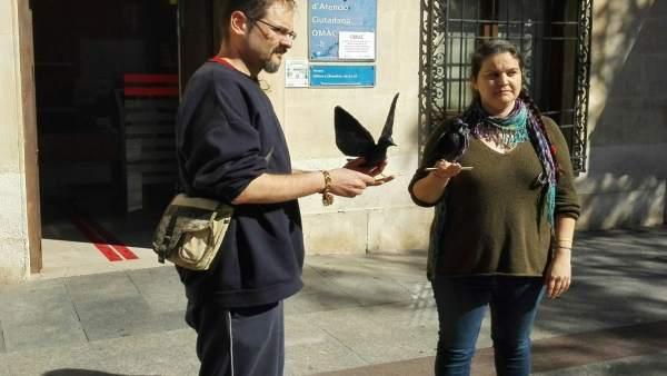 Lidia Gelardo y Pablo González con uno de los animales de madera