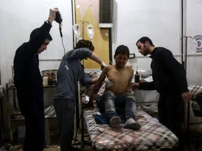 Herido en los bombardeos en Siria