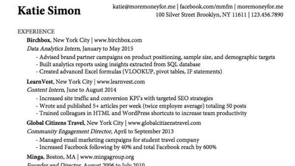 Currículum de Katie Simon