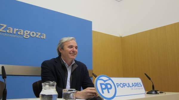 El portavoz municipal del PP Zaragoza, Jorge Azcón.