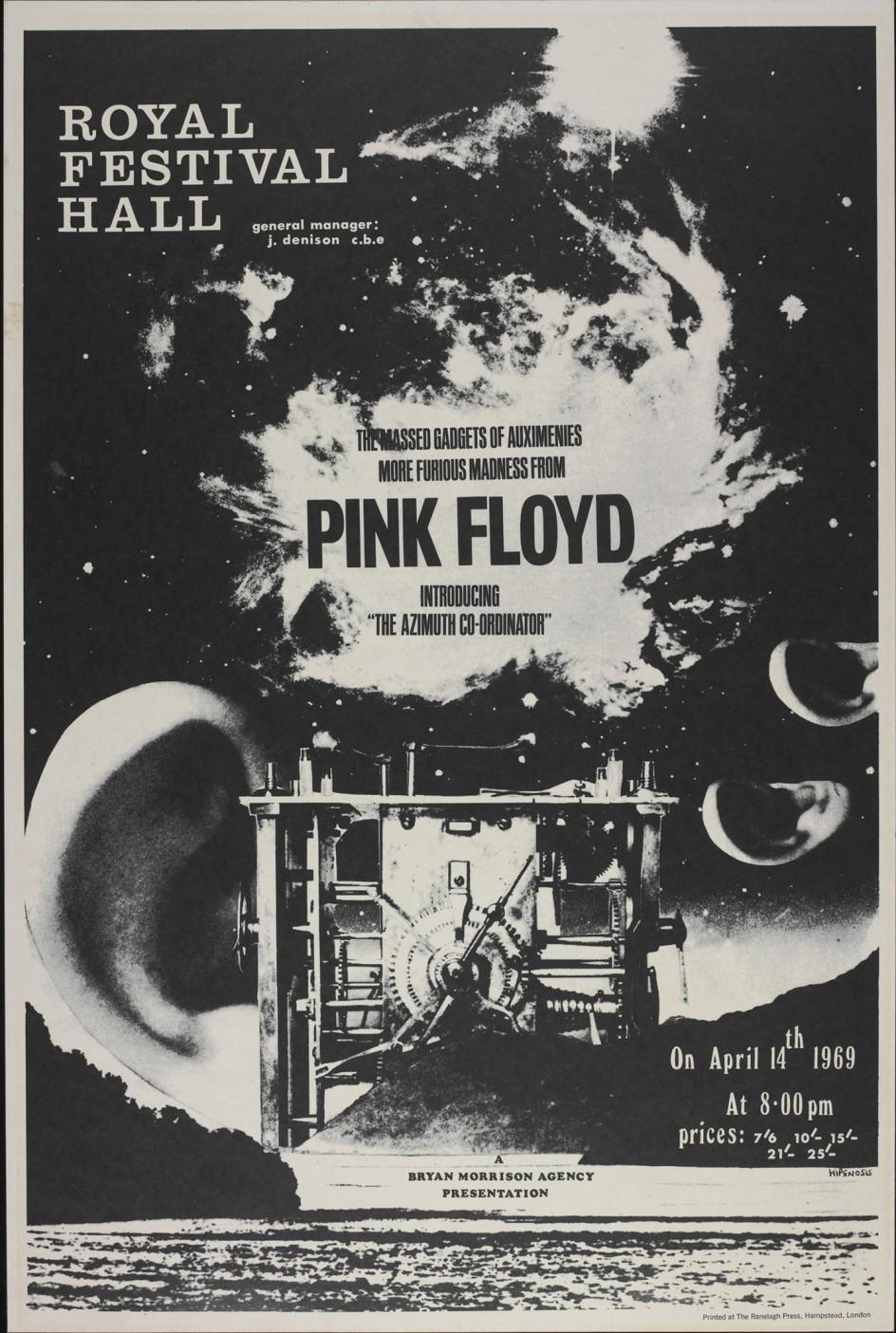Poster for 'The Massed Gadgets of Auximines' - Designed by Hipgnosis in 1969 . Cartel de 1969 de Hipgnosis, la empresa de diseño gráfico con la que trabajó siempre Pink Floyd