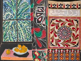 Interior with Egyptian Curtain Henri Matisse (French, 1869–1954), 1948. Egyptian tent curtain (khayamiya), Artist Unknown, Egypt, 19th – early 20th century