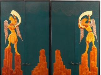 Doors for the Music Room of Mr. and Mrs. Solomon R. Guggenheim, 1925–26; Designed by Seraphin Soudbinine (French, b. Russia 1870–1944); Executed by Jean Dunand (French, b. Switzerland, 1877–1942); Made in Paris, France