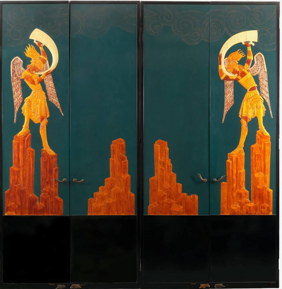 Doors for the Music Room of Mr. and Mrs. Solomon R. Guggenheim, 1925–26; Designed by Seraphin Soudbinine (French, b. Russia 1870–1944); Executed by Jean Dunand (French, b. Switzerland, 1877–1942); Made in Paris, France. Puertas del salón de música de los Guggenheim