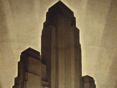 Drawing, Study for Maximum Mass Permitted by the 1916 New York Zoning Law, Stage 4, 1922; Designed by Hugh Ferriss (American, 1889–1962)