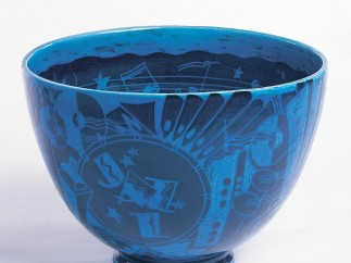 """The New Yorker"" (Jazz) Punch Bowl, 1931; Designed by Viktor Schreckengost (American, 1906–2008); Manufactured by Cowan Pottery Studio (Rocky River, Ohio, USA)"