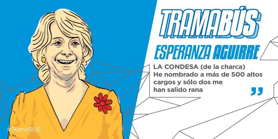 Esperanza Aguirre. Esperanza Aguirre, la condesa de la charca de las ranas. Experta en acudir dopada con dinero negro a las elecciones autonómicas, según el Twitter de Podemos.
