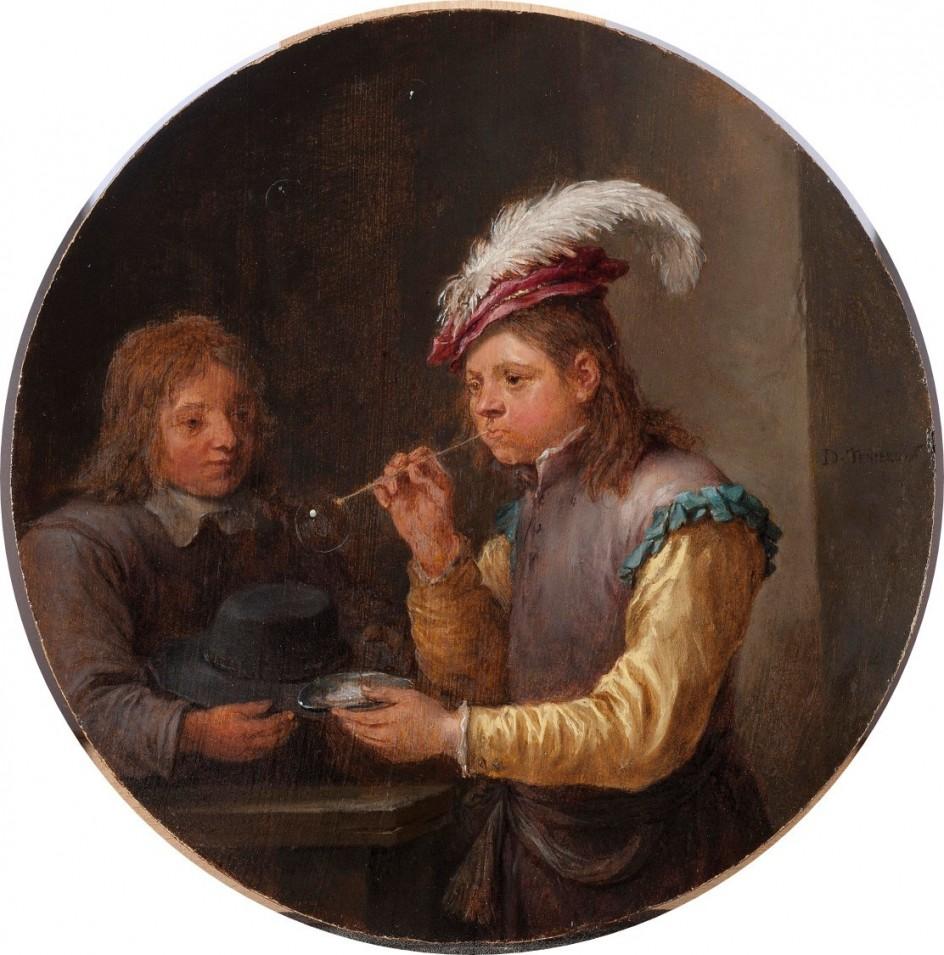 David Teniers the Younger - Boy Blowing Bubbles, c.1640 . Óleo de David Teniers el Joven, emparentado por lazos políticos con la saga Brueghel