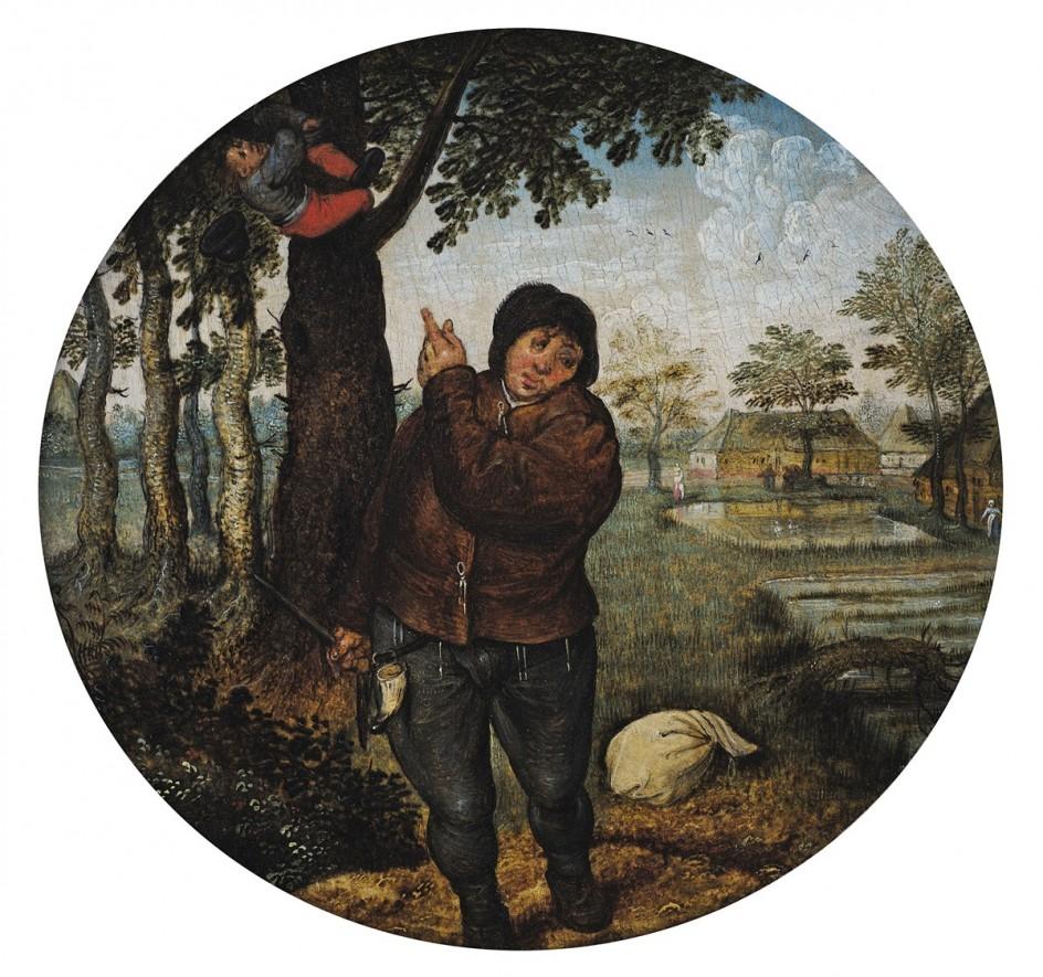 Pieter Brueghel the Younger - Robbing the Bird's Nest . 'Robando el nido de pájaro', de Pieter Brueghel el Joven