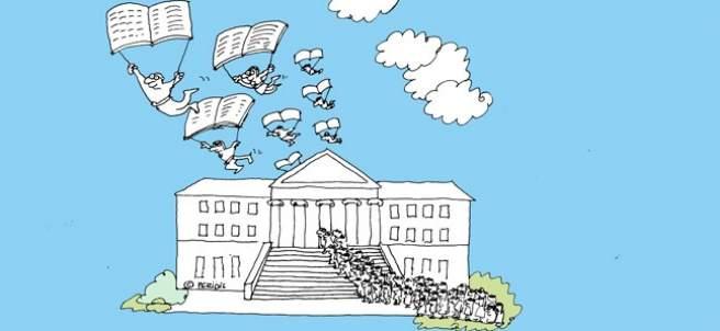 Exposición '¿Qués es una biblioteca para ti?' de la BNE, obra de Peridis.