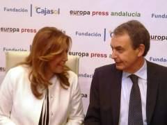 Susana Díaz y Rodríguez Zapatero en los Desayunos de Europa Press
