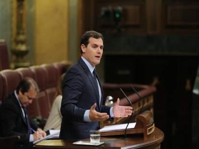 Albert Rivera, presidente de Ciudadanos, en la tribuna