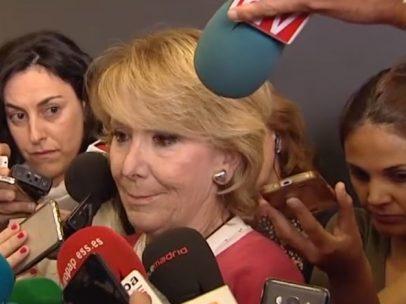 Esperanza Aguirre, con lágrimas en los ojos