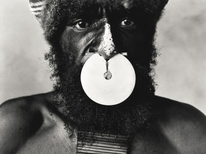 Irving Penn (American, 1917–2009) - Tribesman with Nose Disc, New Guinea, 1970