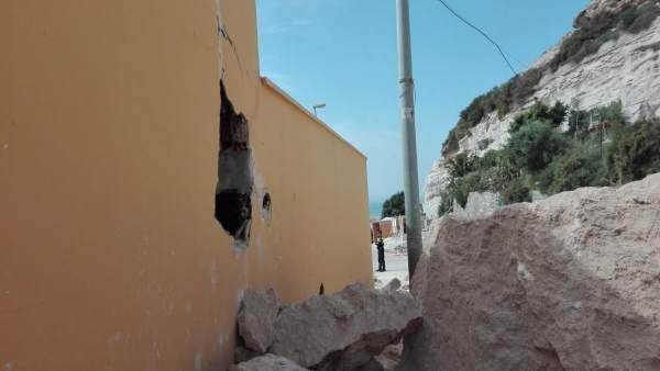 Daños ocasionados en una de las viviendas en la Chanca