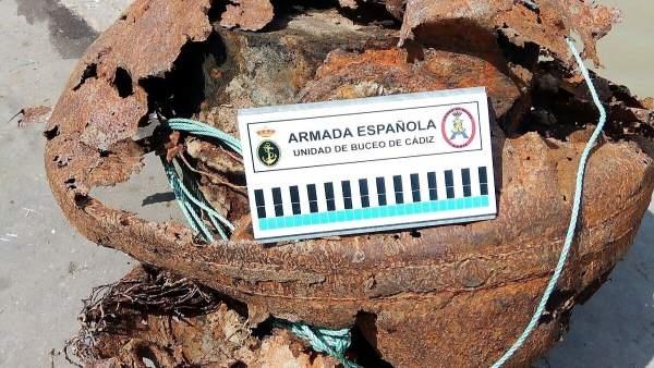 Mina de la Segunda Mundial hallada en Sanlúcar