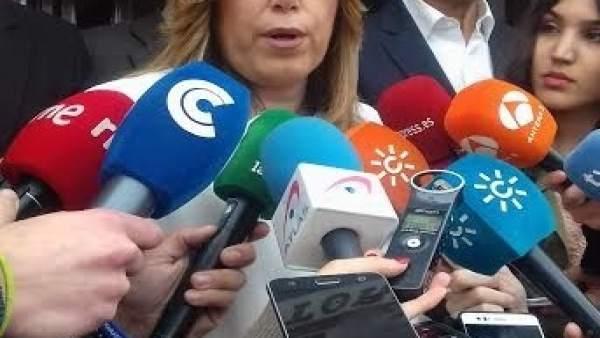 La presidenta de la Junta de Andalucía, Susana Díaz, en Hinojos (Huelva).