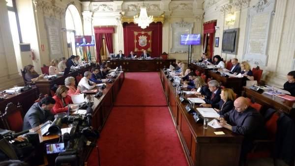 Pleno del Ayuntamiento de Málaga. Abril de 2017