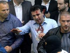 Violenta protesta en el parlamento macedonio