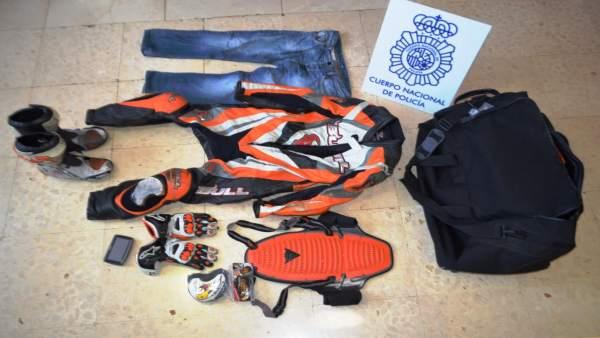 Pertenencias aprehendidas de los tres detenidos por robos en Almería