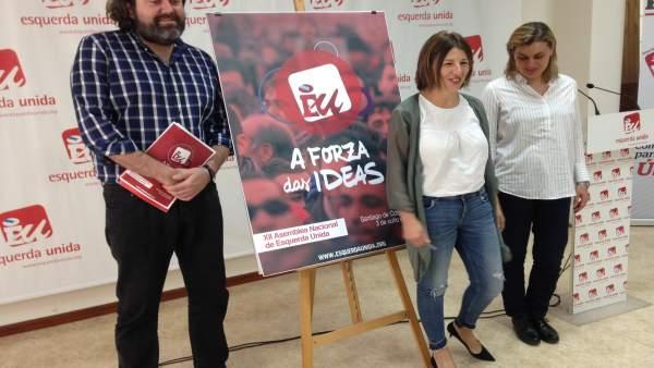 Díaz y otros dirigentes de EU en la presentación de la Asamblea
