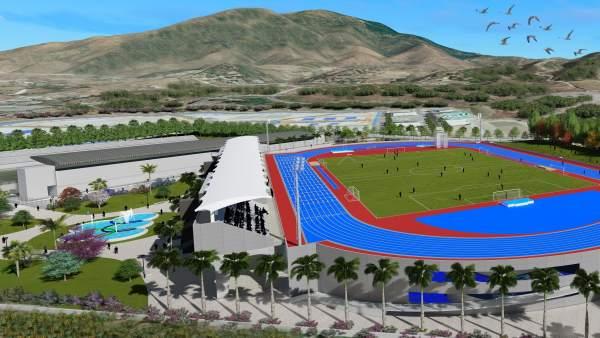 Recreación del estadio de atletismo de Estepona