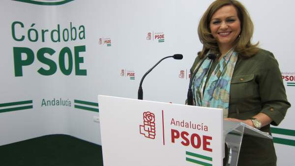 María Jesús Serrano en la sede del PSOE de Córdoba