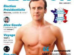 Una revista gay francesa usa un montaje de Macron con el torso desnudo