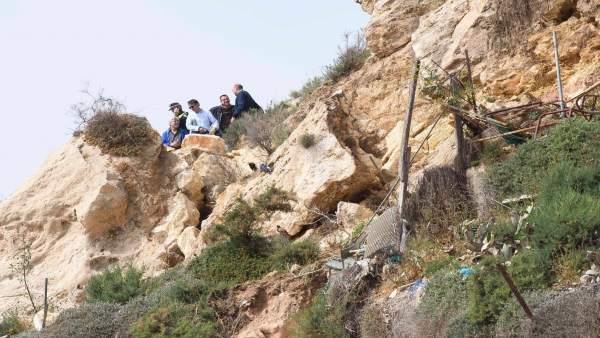 Ladera de La Chanca donde se produjeron los desprendimientos