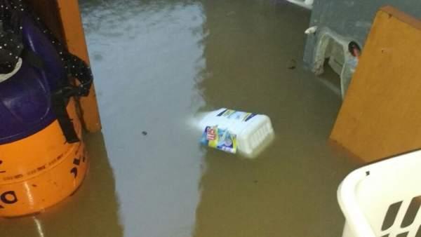 Inundaciones en la barriada de Santa Lucía.