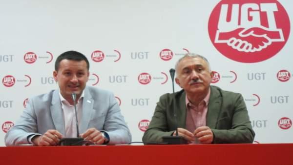 Javier Fernández Lanero (UGT Asturias)y Pepe Álvarez secretario general de UGT