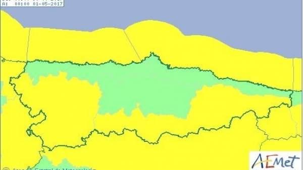 Avisos amarillos en Asturias por viento, oleaje y nieve