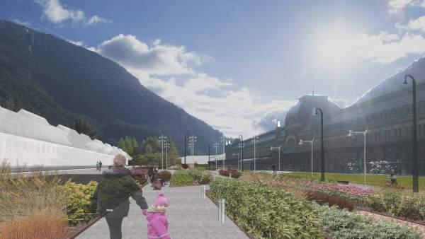 Recreación de la zona de ocio y paseo de la futura estación de Canfranc