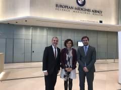Collboni, Montserrat y Comín en la Agencia Europea del Medicamento.