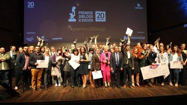 Foto de grupo de la XI Edición de los Premios 20Blogs