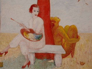 Florine Stettheimer, Self-Portrait with Palette (Painter and Faun), undated