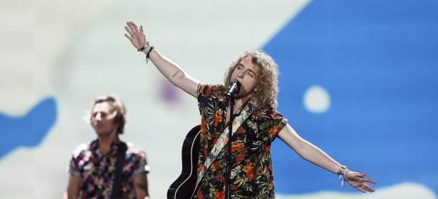 Manel Navarro durante los ensayos de Eurovisión.
