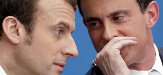 Emmanuel Macron y Manuel Valls