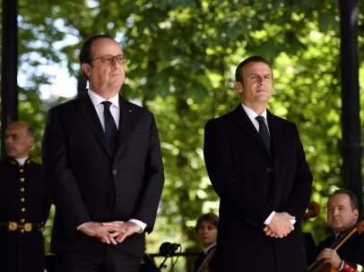 Hollande y Macron en la conmemoración de la abolición de la esclavitud